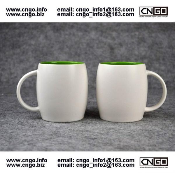 Beer barrel inside green ceramic beer mug custom advertising LOGO