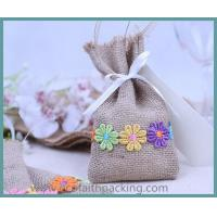 Quality beautiful jute candy bag, jute linen sweet bag for wedding, jute drawstring bag for sale