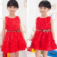 Quality Red Children flower girl dress(6-15 year children clothes) for sale