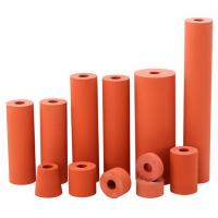 Quality 300C high temperature resistant 45 shore a red color lamination rubber silicon rollers for sale