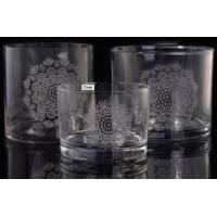 Quality Laser Engraved Etching Logo Decorative Glass Candle Holders , Glass Cylinder Candle Holder for sale
