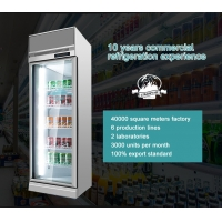Quality Supermarket Refrigeration Equipment 400L Vertical Glass Doors Freezer With Fan Cooling System for sale