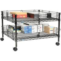 Quality 2 Layers Black Epoxy Coating Mobile Office Table / Small  Storage Shelving Units for sale