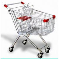 Quality Steel Wire Shopping Trolley Grocery , Supermarket Folding Wire Shopping Cart With Seat for sale