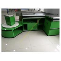 Quality Checkout Counter With Sensor Conveyor Belt / Cashier Desk Stand For Store for sale