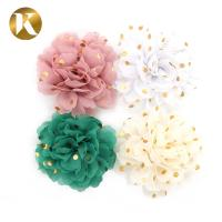 Quality Customized Popular Style Shoe Lace Flowers 85*85mm Cotton / Polyester / Chiffon Material for sale