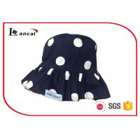 Quality Navy dot printed sun hat , custom bucket hats with cotton twill as material for sale