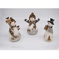 Quality Resin / Polyresin Crafts 3D Small Snowman Figurines Lovely For Home Decoration for sale