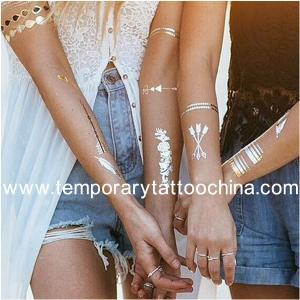 Quality Custom high quality 3D metallic tattoo sticker/gold temporary tattoos/body flash tattoo for sale