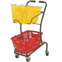 Quality Wire Mesh Shopping Basket Trolley Japanese Style / Double Basket Shopping Trolley With 4 Swivel Wheels for sale