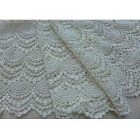 Quality Vintage French Crocheted Cotton Lace Fabric Scalloped Edge Hollow Out Ivory Dots for sale