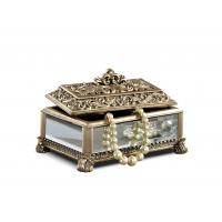 Quality Baroque Leaves Antique Gold Trinket Box / Beautiful Resin Jewelry Box for sale