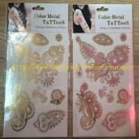 Quality 2015 NEW gold silver Flash temprorary tattoo custom gold foil Tattoo for sale