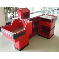 Quality Industrial Metal Supermarket Checkout Counter / Retail Cash Table With Bag Holder for sale