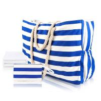 China Striped Cute Fabric Canvas Tote Beach Bag Waterproof For Girls Ladies on sale