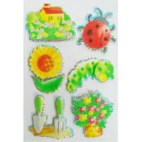 China Soft Custom Made Hologram Stickers 3D Shinning Spring Type Flower Tree House Design on sale