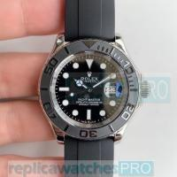 Quality AR Factory Replica Rolex Yacht-Master Black Dial Rubber Band Watch 42mm for sale