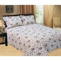 Quality Purple Flowers Full Size Bed Sets Soft Comfortable With 100% Polyester Material for sale