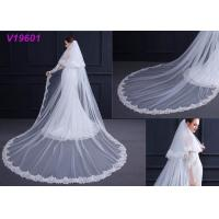 Quality White Women Wedding Gown Accessories Veil With Lace Beading Decoration Design for sale