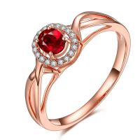 China Solid 18k Gold Jewelry Ruby Engagement Rings Rose Gold Pave Natural Diamond on sale