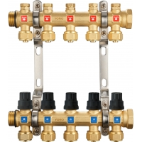 Quality 6211 Hot Forged Brass Water Distribution Manifolds 50mm Branch Spacing with Concealed Supply Flowrate Tuners + Seal Caps for sale