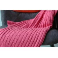 Quality Self Edge red Pure Combed Cotton Knit Throw Blankets for beds large 1.27M X 1.52M for sale