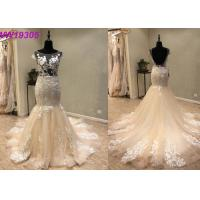 Quality Custom Made Champange Mermaid Style Wedding Dress With Boat Neckline Tulle for sale