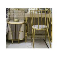 Quality Modern Bedroom Stainless Steel Furniture Study Table Chair with Golden Color for sale