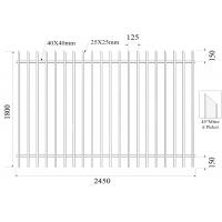 China Hercules Fence Panels 45° Mitre 1800mm height 2450mm Steel Picket Fence Interpon coated 80 microns minimum powder on sale