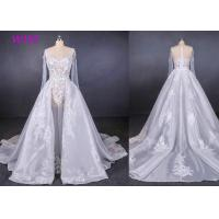 Quality Long Sleeves Transparent Female Wedding Dress With Train Brides Dresses for sale