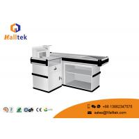 Quality L Type Supermarket Checkout Counter Silver Supermarket Cashier Counter for sale