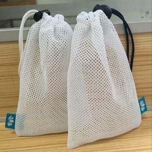 China Small Net Lingerie Wash Bag , Nylon / Jute Drawstring Laundry Net Bag on sale