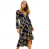 Buy cheap Long Sleeve V Neck Sexy Ladies Casual Beach Dresses Fashion Long Dress from wholesalers