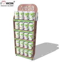 Quality Point of Purchase Wooden Display Racks Free Standing For Nutritional Shake Chocolate for sale