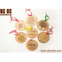 Buy glossy varnish christmas ornament laser cut wood hanging labels with heart shape at wholesale prices