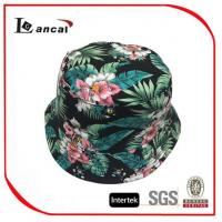 Quality 100% Cotton Hawaii Printed Bucket Hat With Drawstring , Ladies Floral Bucket Hat for sale