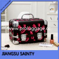 Sexy hot red lips printing PVC surface aluminum makeup case