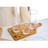 Quality Round Glass Drinking Cup Sets With Gold On Cup Side For Juice And Wine for sale