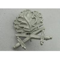 Quality 3D Leaves Shape Zinc Alloy Souvenir Badges, Memorial Badge with Cross Sword with Misty Nickel Plating for sale