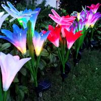 China Outdoor Solar Flower Stake Lights,Multi Color Changing Lily Solar Powered Lights For Patio Lawn Garden Yard Decoration on sale