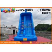 Quality Blue Color Outdoor Inflatable Water Slides With Swimming Pool TUV ROHS EN71 for sale