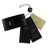 China Luxury Shining Paper Clothing Hang Tag Personized Darkbrown Nylon Strings on sale