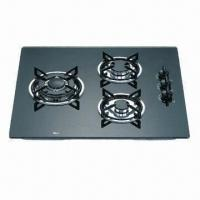 Quality Gas Stove with Black Glass Worktop, 3 Sabaf Burners and Enameled Cast Iron Trivets for sale