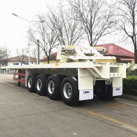 China Flatbed Q345B 53Ft 4 Axle Shipping Container Trailer on sale