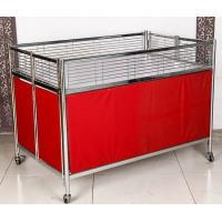 Quality Foldable Moving Supermarket Promotion Table / Durable Metal Shelf Cart With Castors for sale