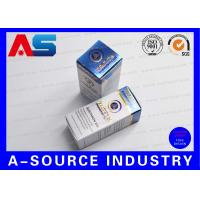 Quality Customize Carton 10ml Vial Boxes Gold Foil Embossed Metalic Blue Color UV Matt Printing for sale