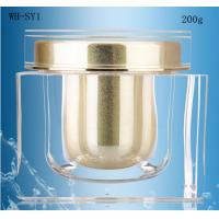 Quality 200ml square acrylic jar,200gr square shaped cream jars,200ml cosmetic jar with gold cap for sale