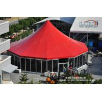 Luxury High Peak Tent With Red Roof Cover And Solid Glss Wall For Outdoor Event
