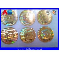 China Gold Color Custom Holographic Stickers With Serial Number , Hologram Ready Seal For Anti Fake on sale