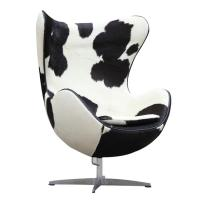 China Mid-Century Modern Classic Egg Chair Leather Upholstered Modern Style Chairs with Chrome Base on sale